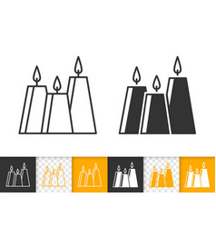 candle flame simple black line fire icon vector image