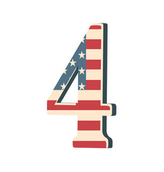 Capital 3d number four with american flag texture vector