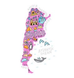 Cartoon map argentina vector