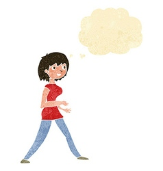 Cartoon woman walking with thought bubble vector