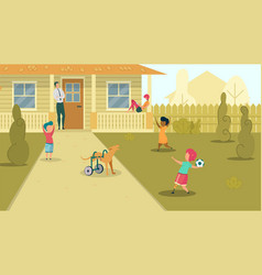children playing kid and dog with prosthesis vector image