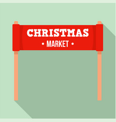 christmas market banner icon flat style vector image