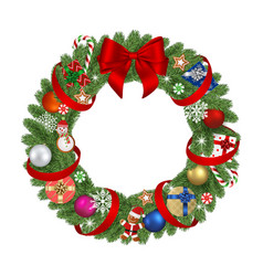 christmas wreath with red bow vector image
