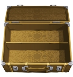 Classic brown empty suitcase for travel vector