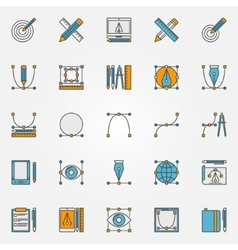 Colorful graphic design icons vector image