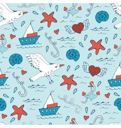 Colorful seamless sea pattern with seagulls shells vector