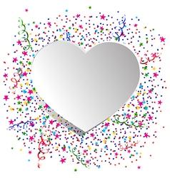 Confetti and white heart vector