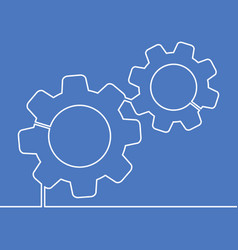 continuous one line gear icon cogwheel concept vector image