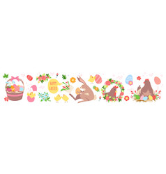 cute easter set funny spring collection with vector image