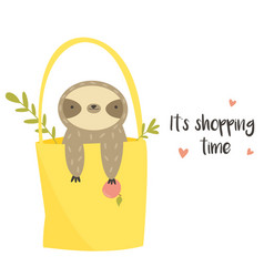 cute funny sloth sitting in a shopping bag vector image