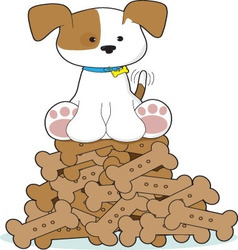 cute puppy and bones vector image