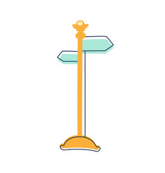 Direction pointer street sign cute fairy tale vector