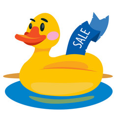 duckling swimming ring colored for children vector image
