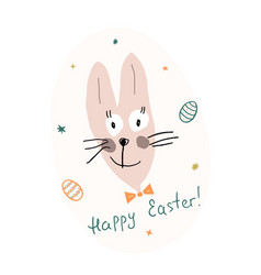 easter bunny with lettering happy easter a vector image
