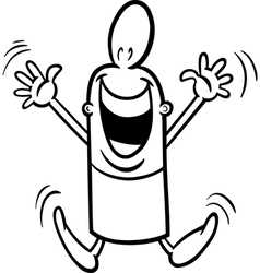 Excited guy coloring page vector