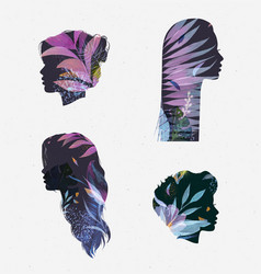 Face silhouettes floral violet tones vector