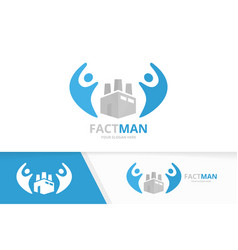 Factory and people logo combination vector