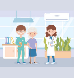 Female physician male nurse and patient woman vector