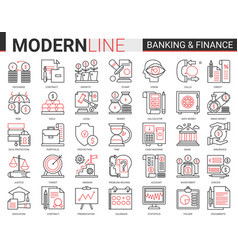 finance and banking complex red black line icons vector image