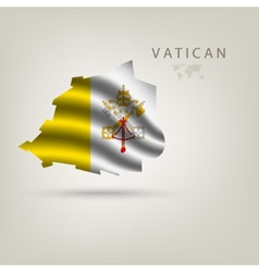 Flag of vatican as a country with a shadow vector