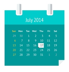 Flat calendar page for July 2014 vector image