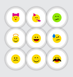 flat icon emoji set of laugh smile tears and vector image