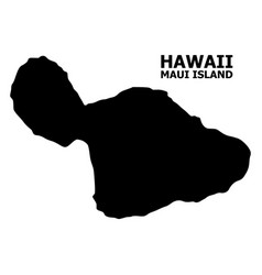 Flat map maui island with caption vector