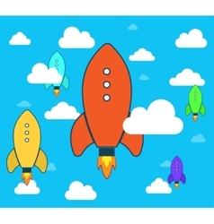Flat rocket icon Startup Project development vector