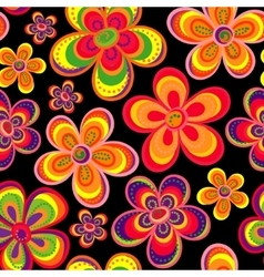 floral pattern in doodle style with flowers vector image
