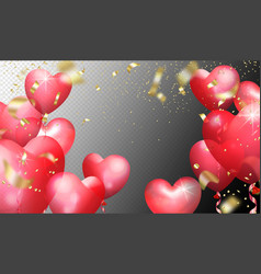 flying bunch of red balloon hearts and golden vector image