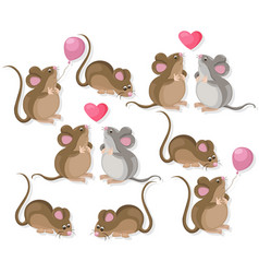 Funny cute mice couple characters in love cartoon vector