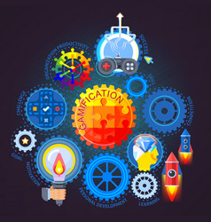 gamification flat composition vector image
