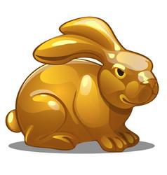 golden figure rabbit chinese horoscope symbol vector image