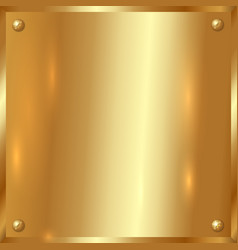 golden plate with screws vector image