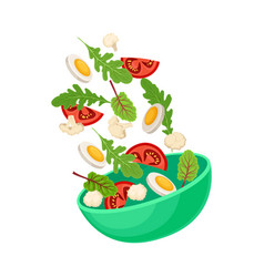 Green bowl with slices boiled egg and vector