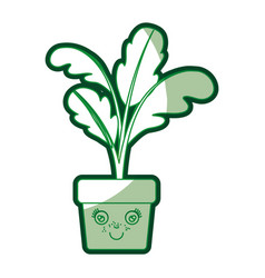 green silhouette of caricature of beet plant in vector image