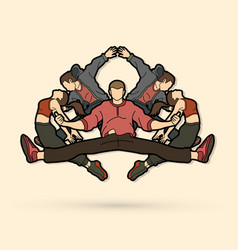 group of people dancing hip hop street dance vector image