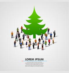 group people around christmas tree vector image