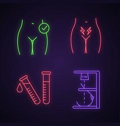 Gynecology neon light icons set vector