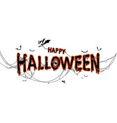 happy halloween lettering with spider web and bats vector image