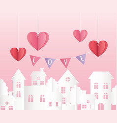 happy valentines day hanging origami paper hearts vector image