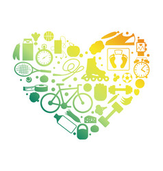 heart sport equipment silhouettes emblem vector image