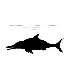 ichthyosauria silhouette dinosaur jurassic vector image