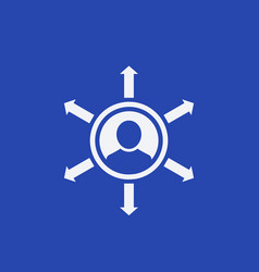 Influence icon on blue vector