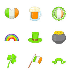 ireland travel icons set cartoon style vector image
