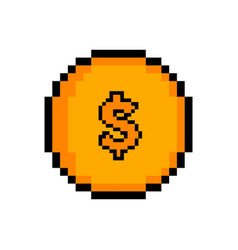 isolated pixelated golden coin icon vector image