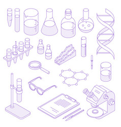 isometric laboratory icon set vector image