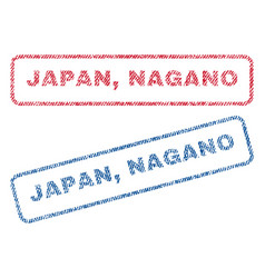 Japan nagano textile stamps vector