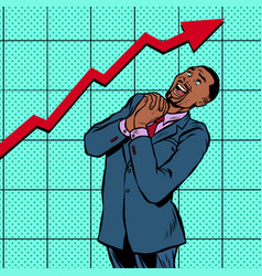joyful african businessman growth chart vector image