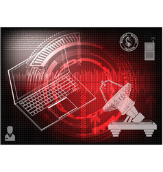 laptop and satellite dish vector image
